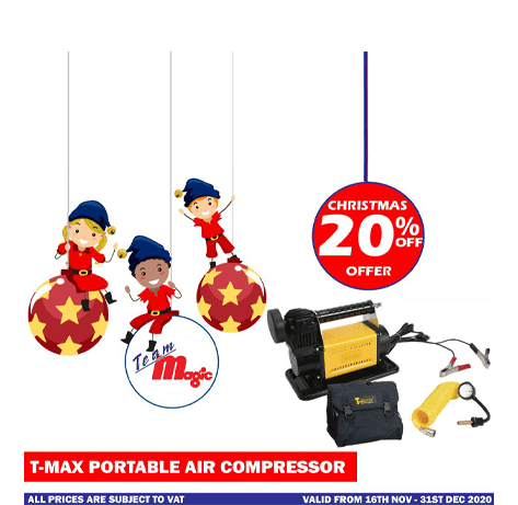 T Max portable air compressor Christmas Offer 2020